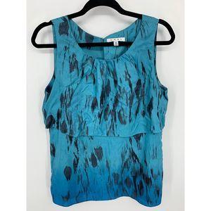 Cabi Serene tiered tank black blue ombre silk M